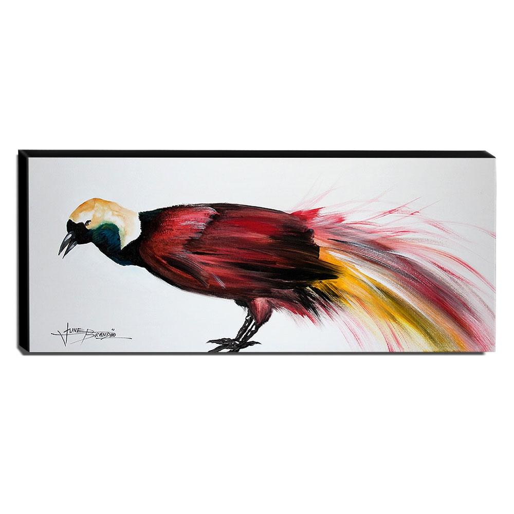Quadro de Pintura Ave-do-Paraíso 40x105cm-1596