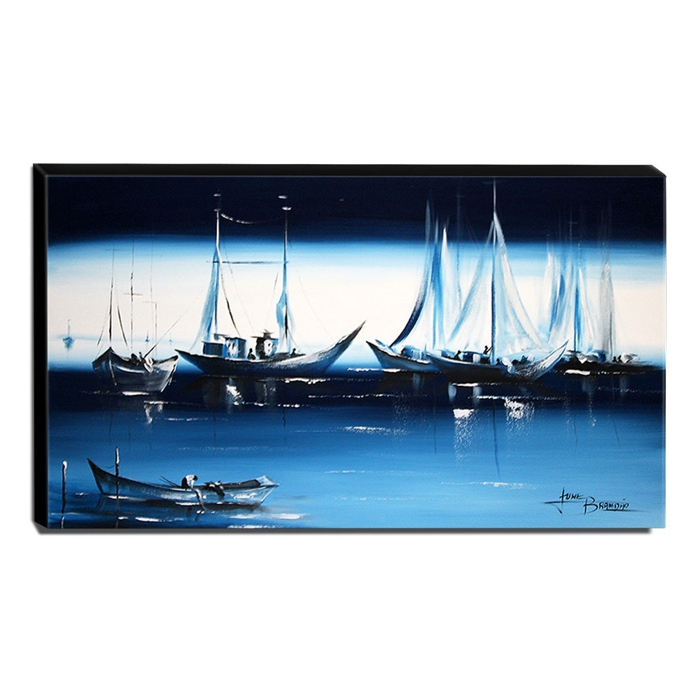Quadro de Pintura Barcos 60x105cm-1285