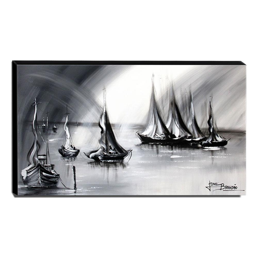 Quadro de Pintura Barcos 70x120cm-1335