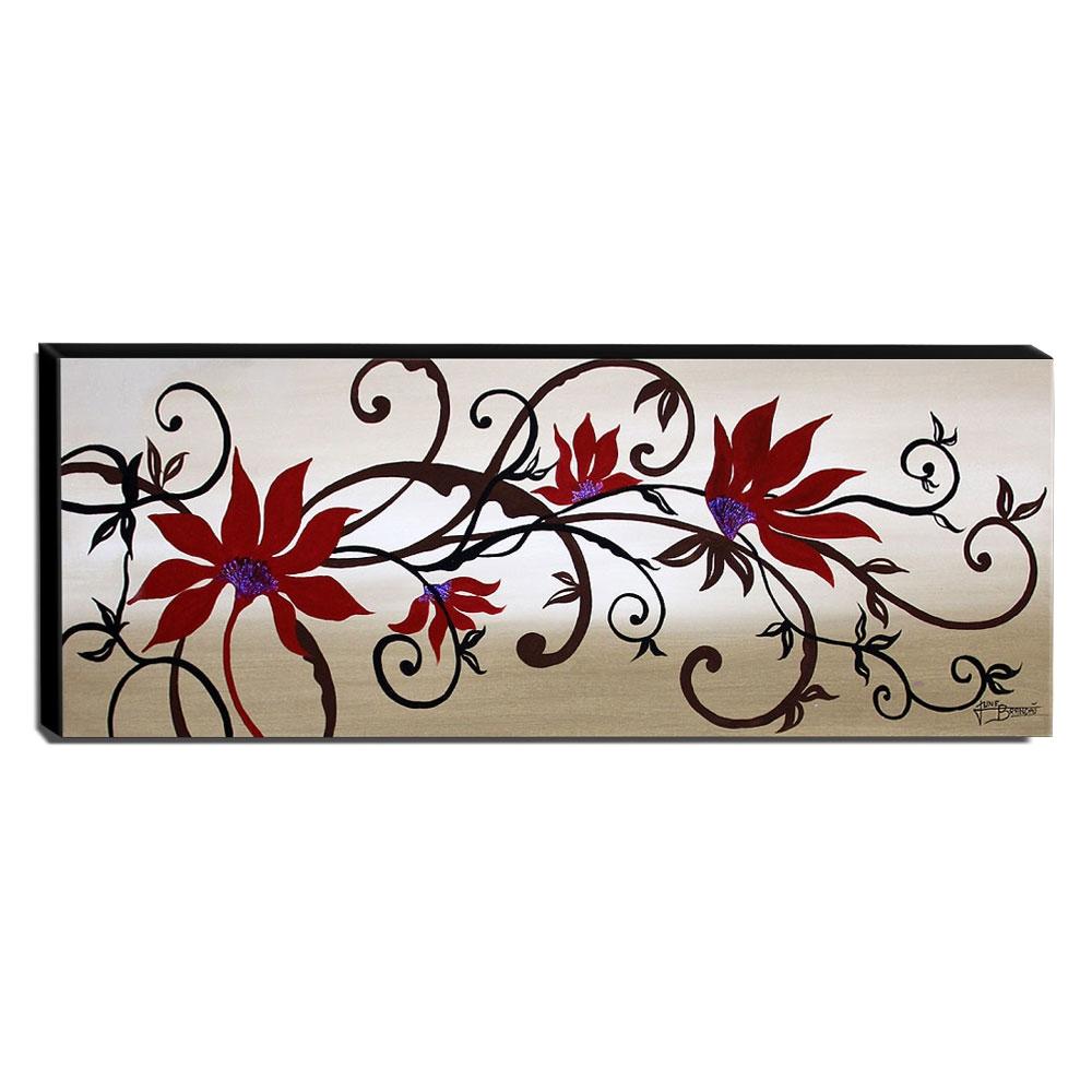 Quadro de Pintura Floral 40x105cm-1097