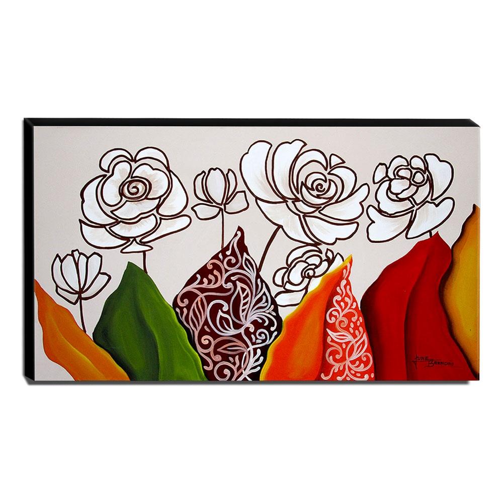 Quadro de Pintura Floral 60x105cm-1700