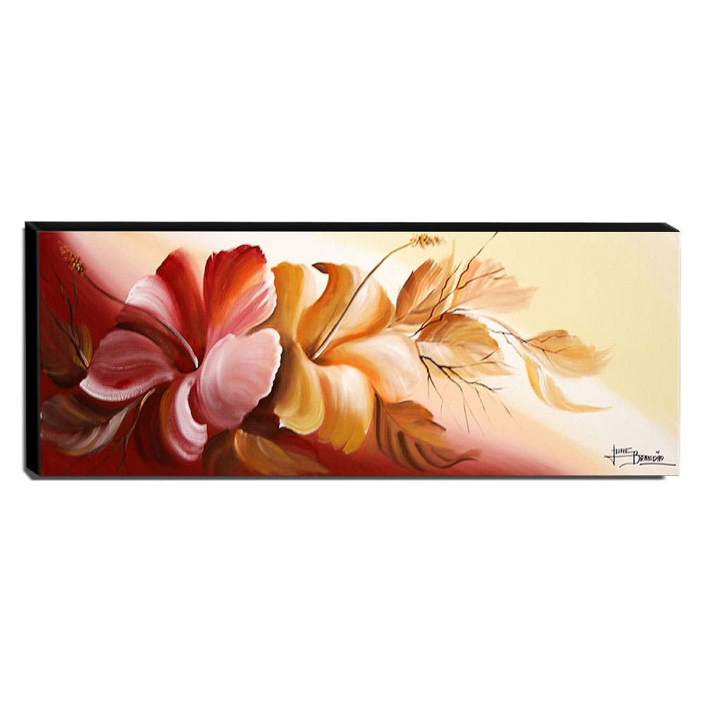 Quadro de Pintura Hibisco 40x105cm-1799