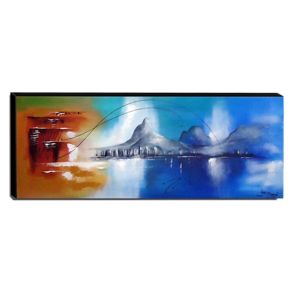 Quadro de Pintura Paisagem 35x110cm-0487