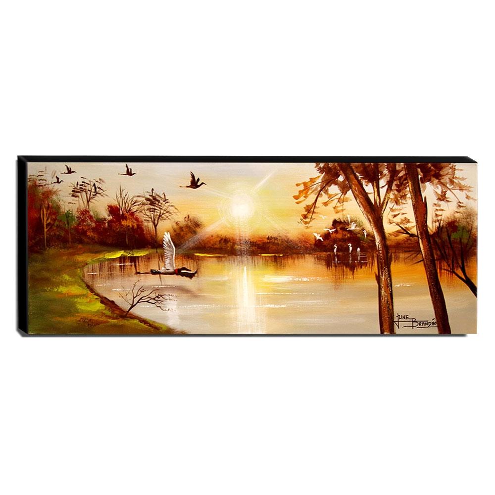 Quadro de Pintura Pantanal 40x105cm-1536