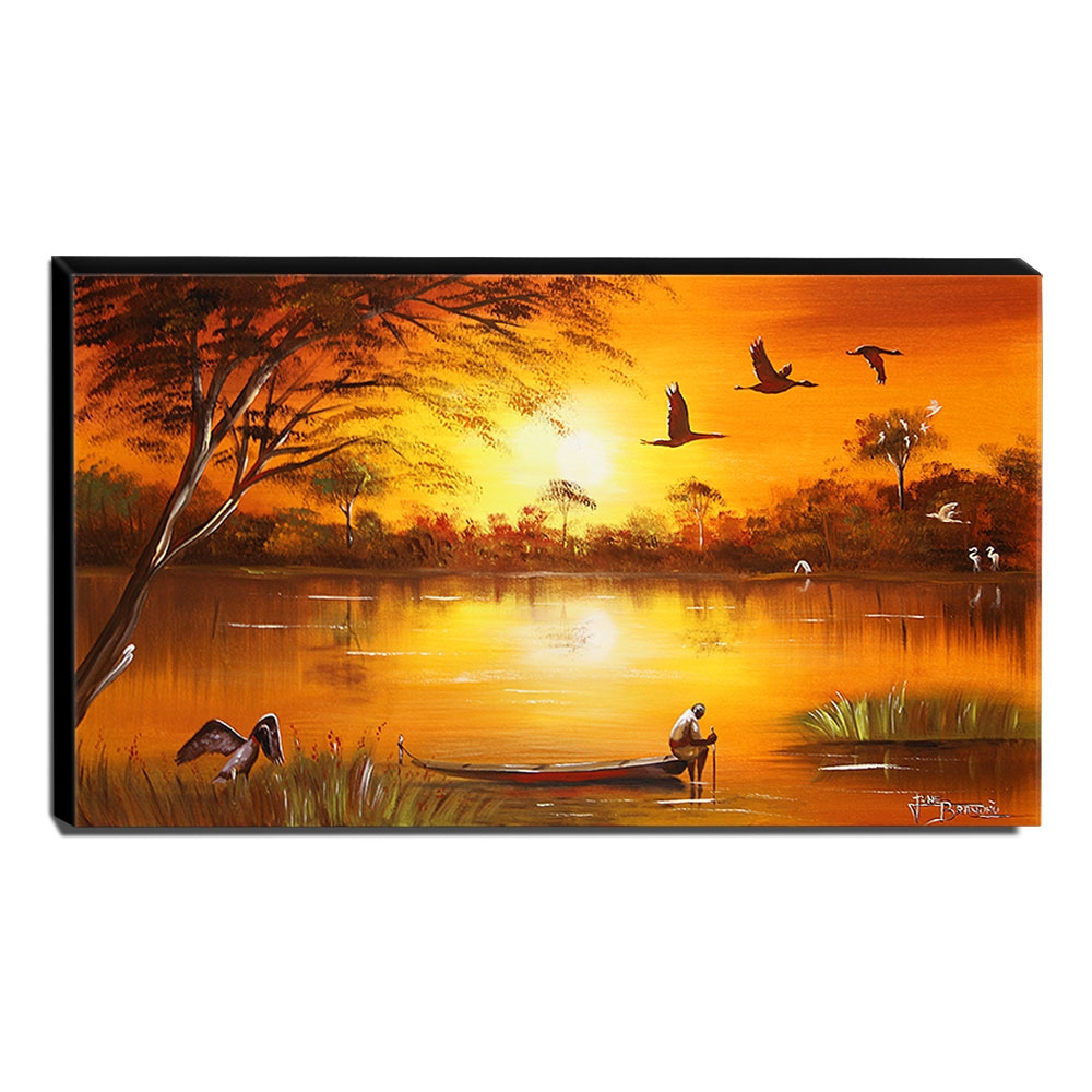Quadro de Pintura Pantanal 60x105cm-1438