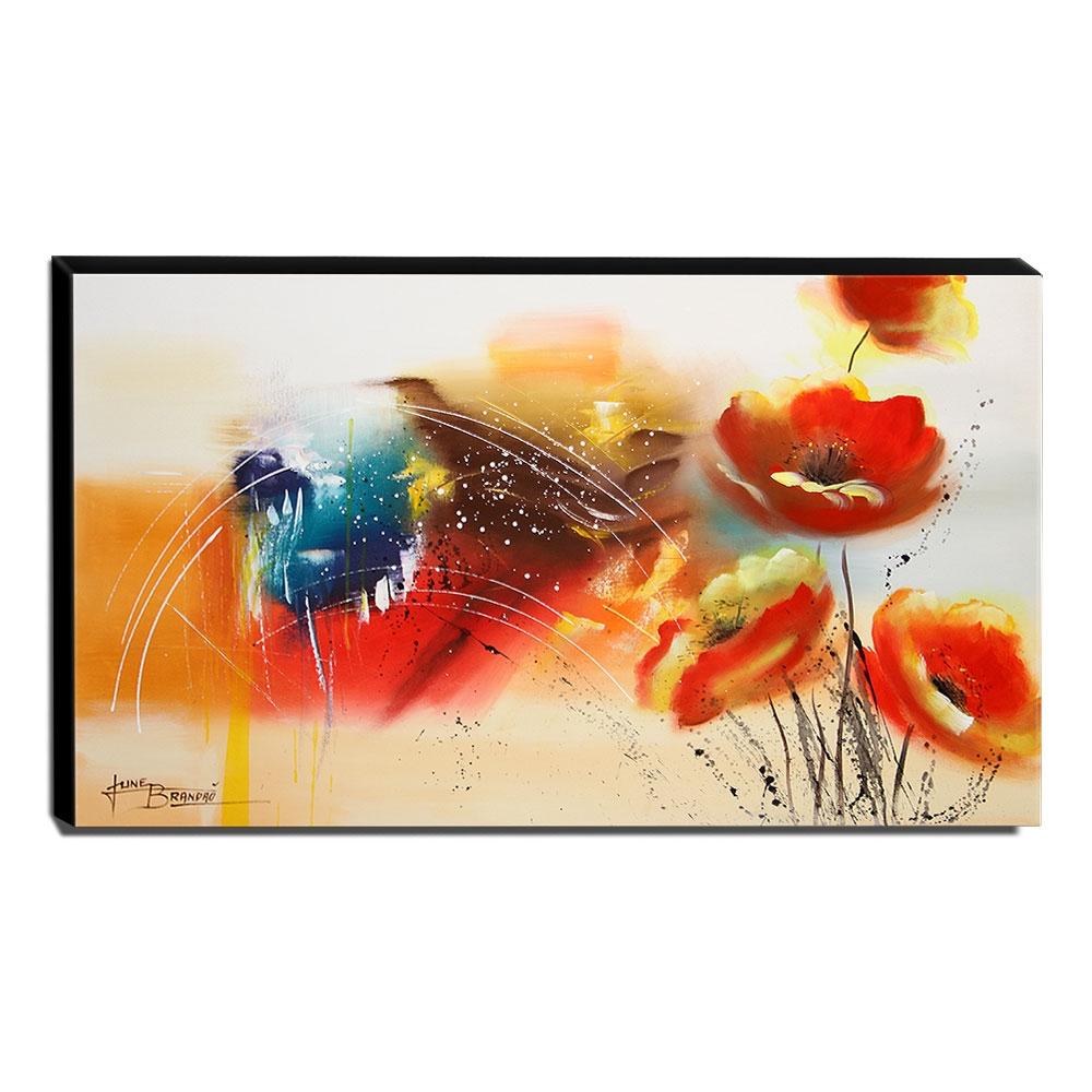 Quadro de Pintura Papoulas 60x105cm-1467