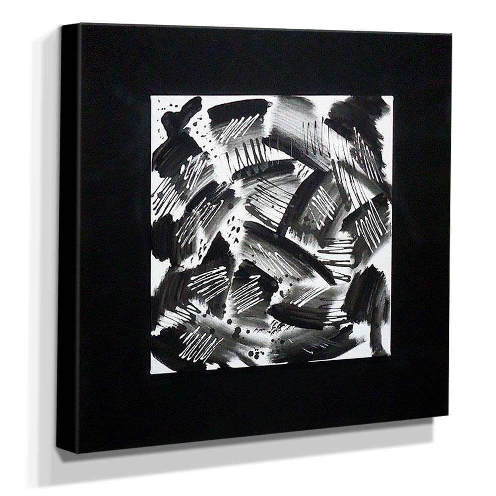 Quadro de Pintura Preto e Branco 70x70cm-0879
