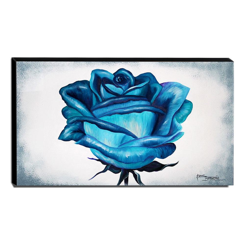 Quadro de Pintura Rosa Azul 70x120cm-1574