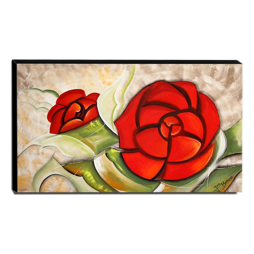 Quadro de Pintura Rosa Estilizada 70x120cm-1324