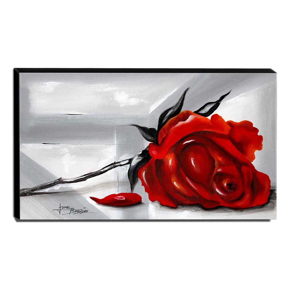 Quadro de Pintura Rosa Vermelha 60x105cm-1563