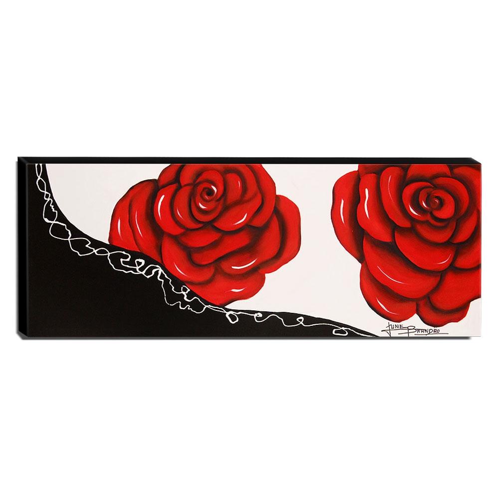 Quadro de Pintura Rosas 40x105cm-1547