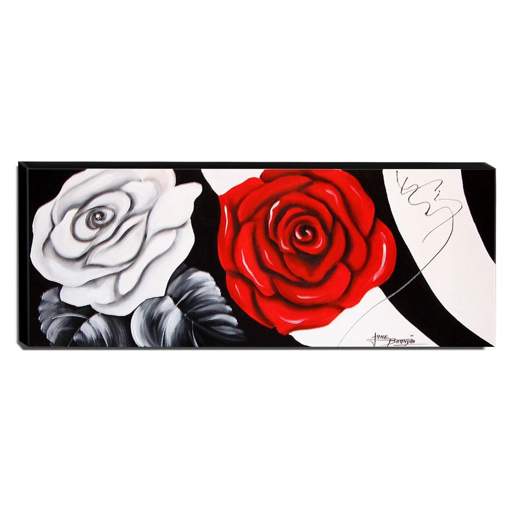 Quadro de Pintura Rosas 40x105cm-1557