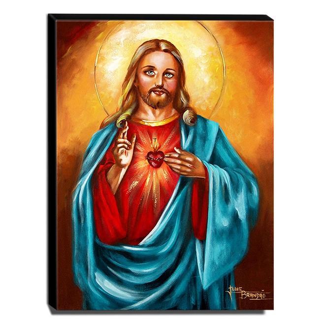 Quadro de Pintura Sagrado Coração de Jesus 80x60cm-1564