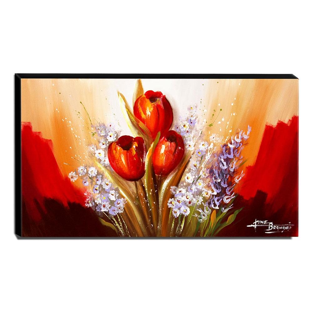 Quadro de Pintura Tulipas Vermelhas 60x105cm-1561