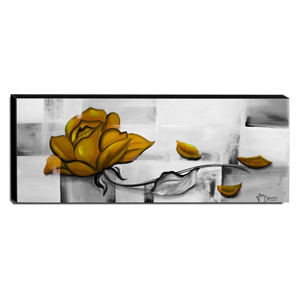 Quadro Decorativo Canvas Rosa Amarela 40x105cm