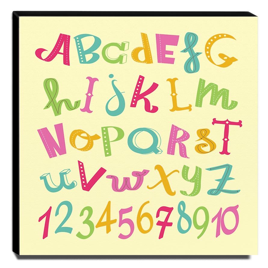 Quadro Infantil Alfabeto e Números Canvas 30x30cm-INF264