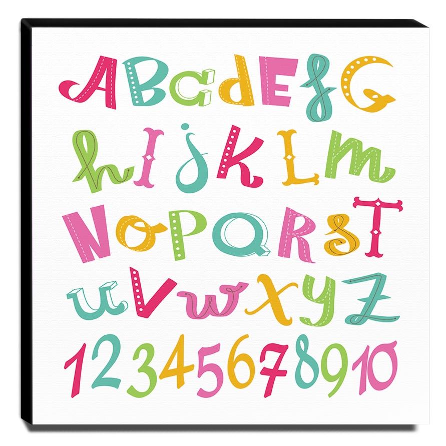 Quadro Infantil Alfabeto e Números Canvas 30x30cm-INF266