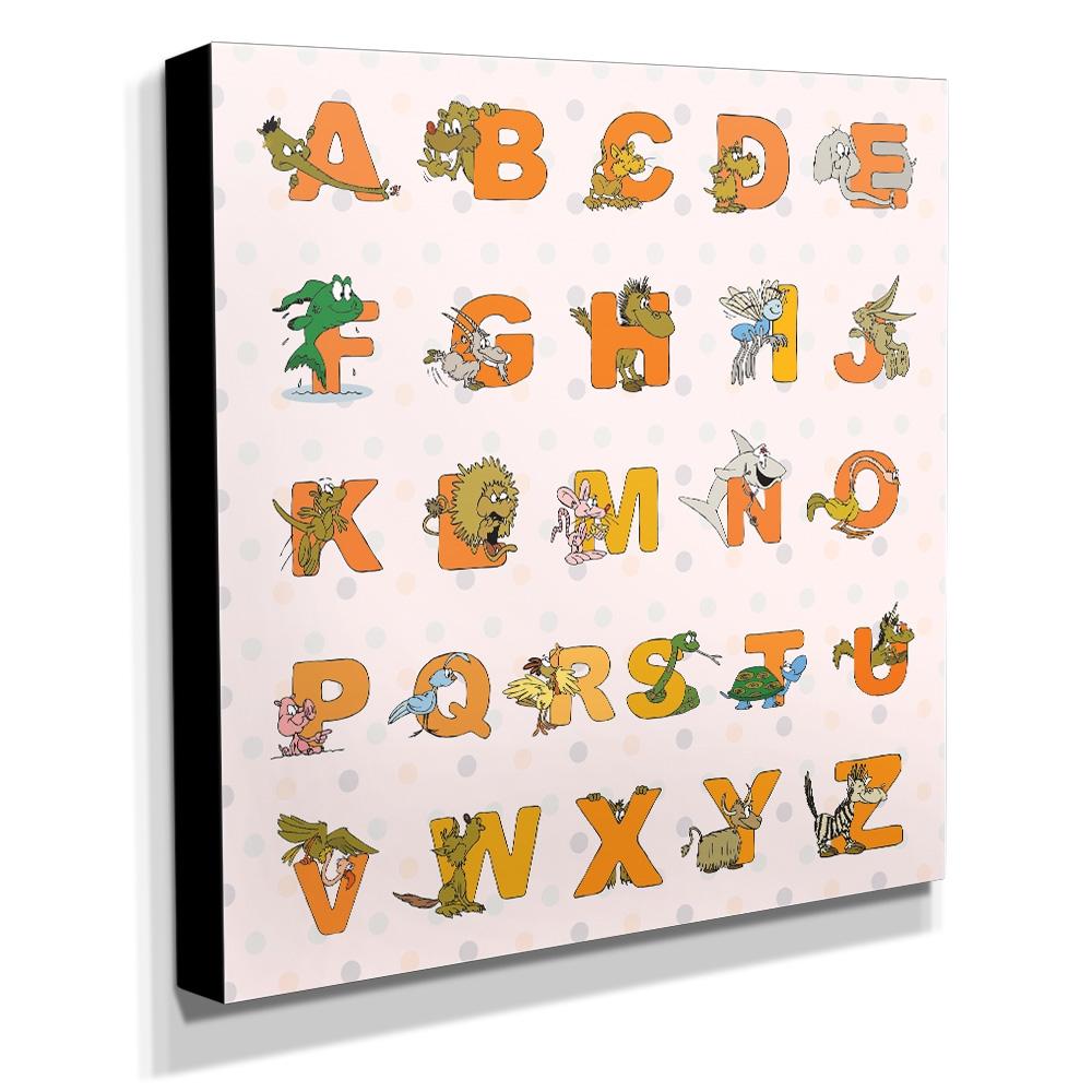 Quadro Infantil Alfabeto Inglês Canvas 30x30cm-INF113