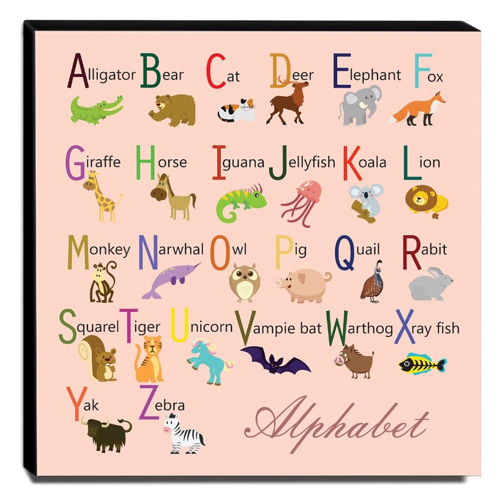Quadro Infantil Alfabeto Inglês Canvas 30x30cm-INF114