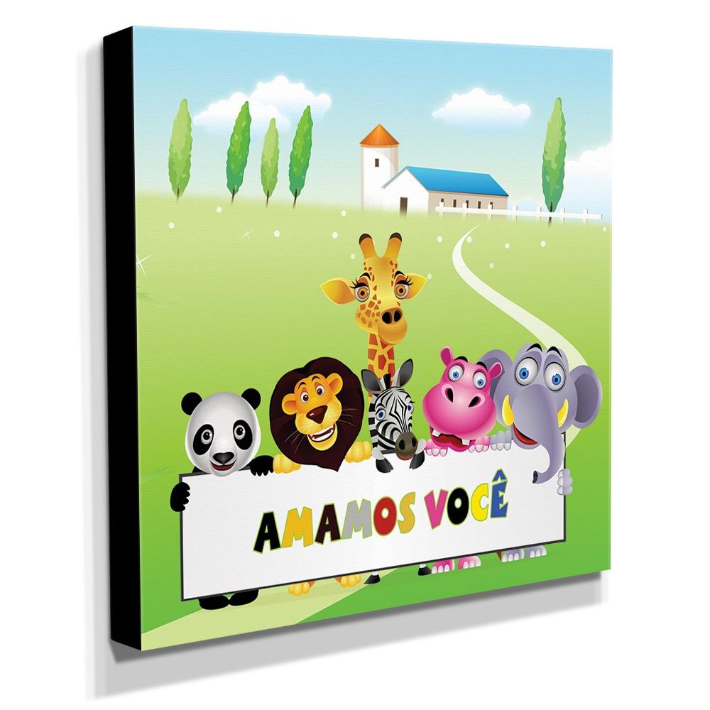 Quadro Infantil Animais Amamos Você Canvas 30x30cm-INF172
