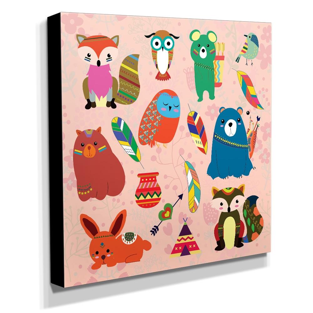 Quadro Infantil Animais Canvas 30x30cm-INF123