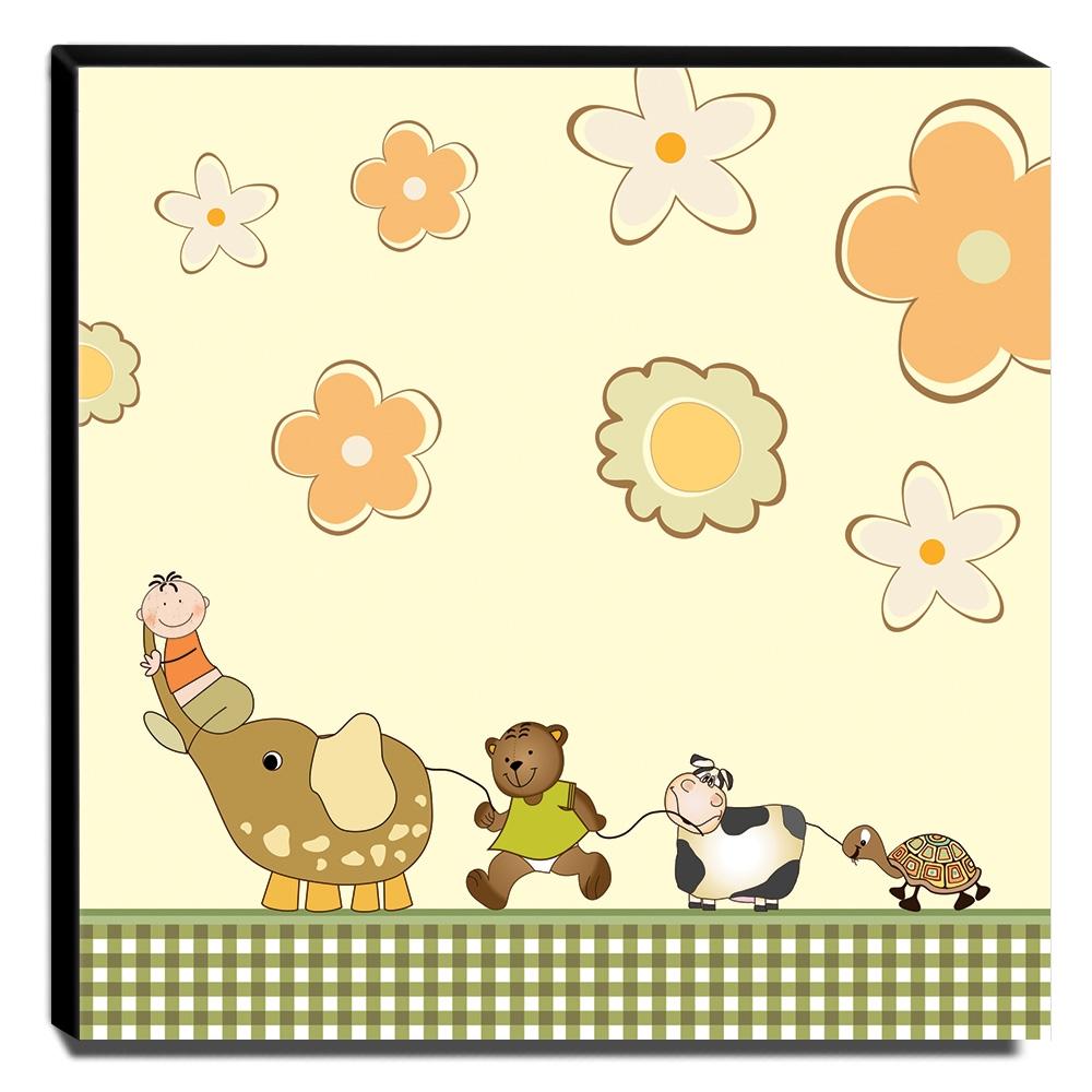 Quadro Infantil Animais Canvas 30x30cm-INF133