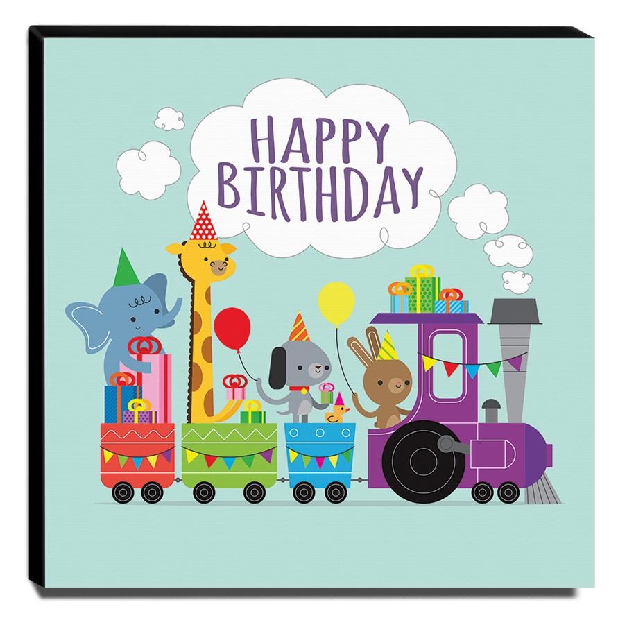 Quadro Infantil Animais Happy Birthday Canvas 30x30cm-INF352