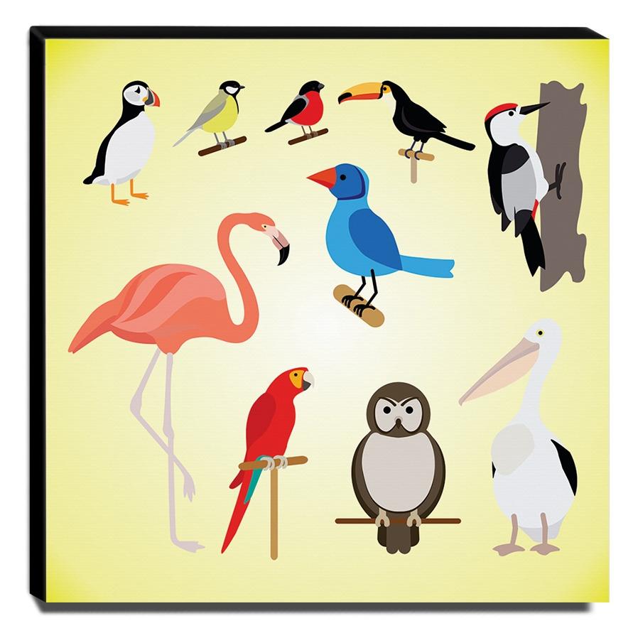 Quadro Infantil Animais Pássaros Canvas 30x30cm-INF413