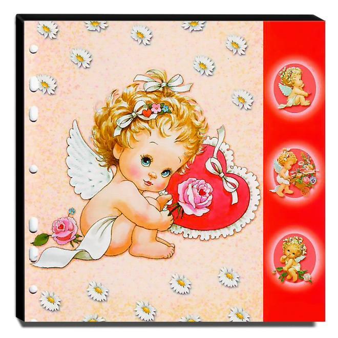 Quadro Infantil Anjinha e Flores Canvas 30x30cm-INF512