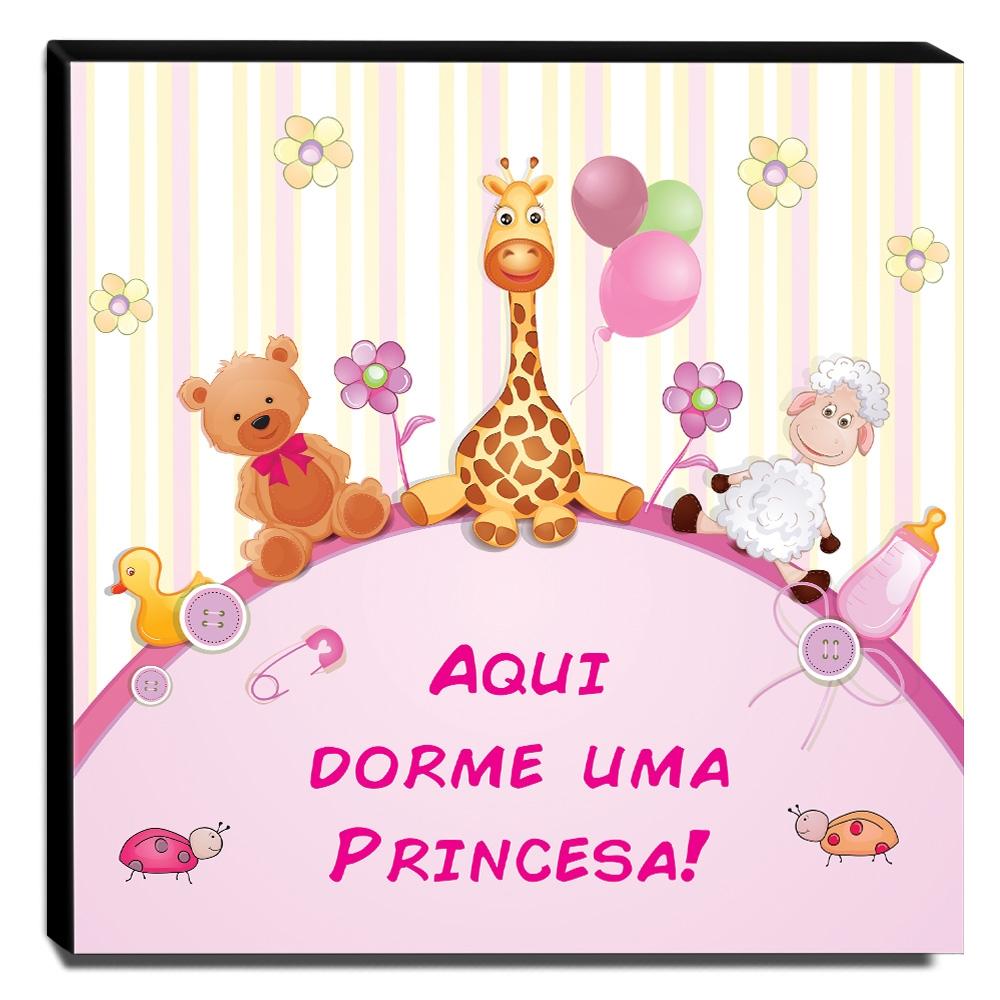 Quadro Infantil Aqui Dorme Uma Princesa Canvas 30x30cm-INF108
