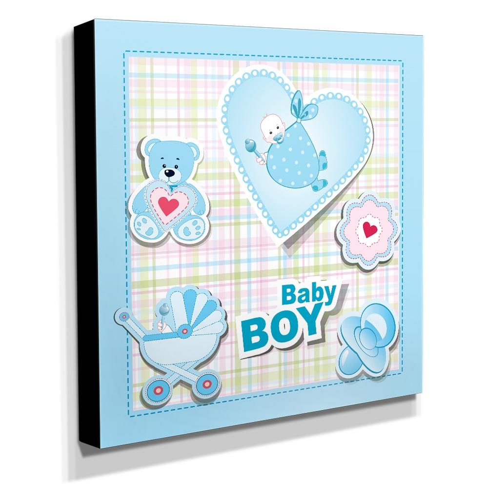 Quadro Infantil Baby Boy Canvas 30x30cm-INF129
