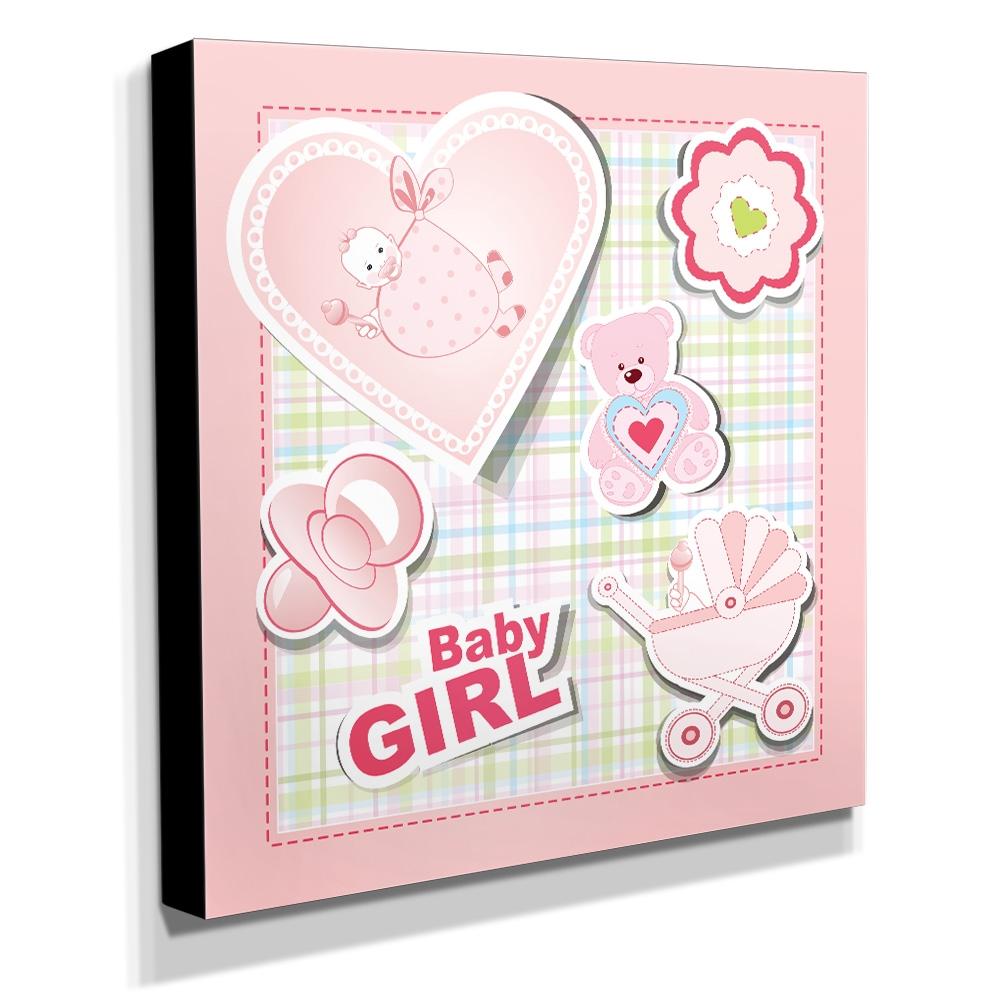 Quadro Infantil Baby Girl Canvas 30x30cm-INF128
