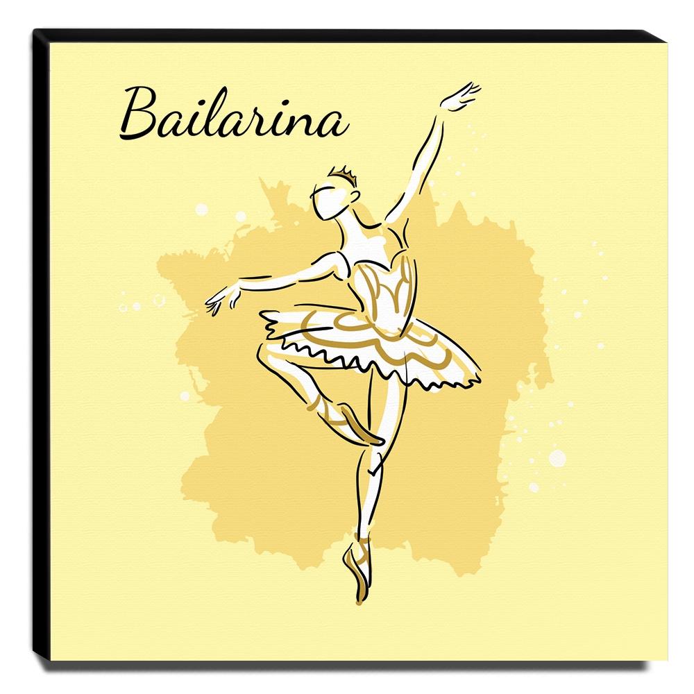 Quadro Infantil Bailarina Canvas 30x30cm-INF165