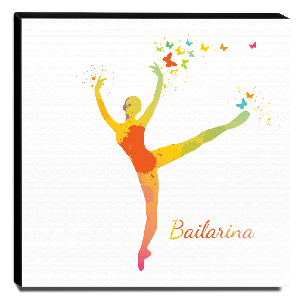 Quadro Infantil Bailarina Canvas 30x30cm-INF167