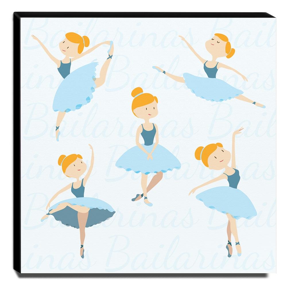 Quadro Infantil Bailarinas Canvas 30x30cm-INF160