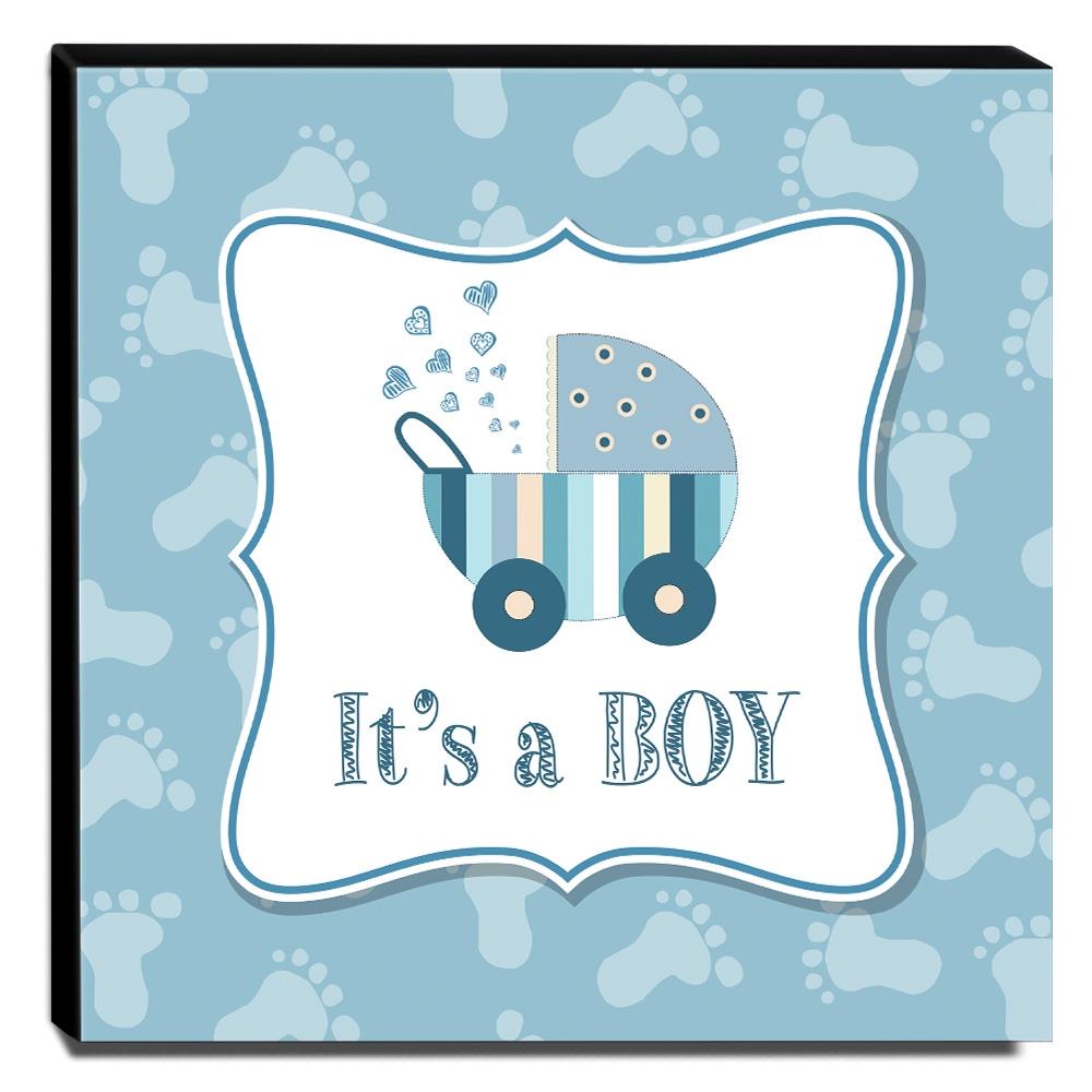 Quadro Infantil Carrinho de Bebê Canvas 30x30cm-INF39