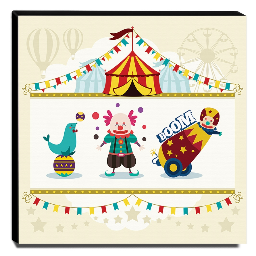 Quadro Infantil Circo Canvas 30x30cm-INF341