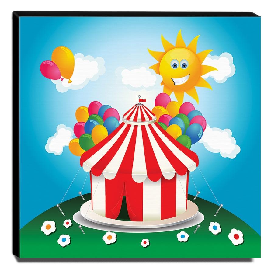 Quadro Infantil Circo Canvas 30x30cm-INF343
