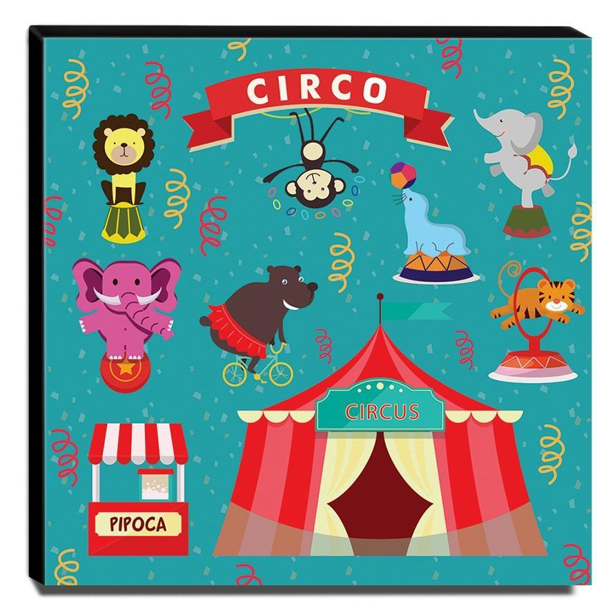 Quadro Infantil Circo Canvas 30x30cm-INF353