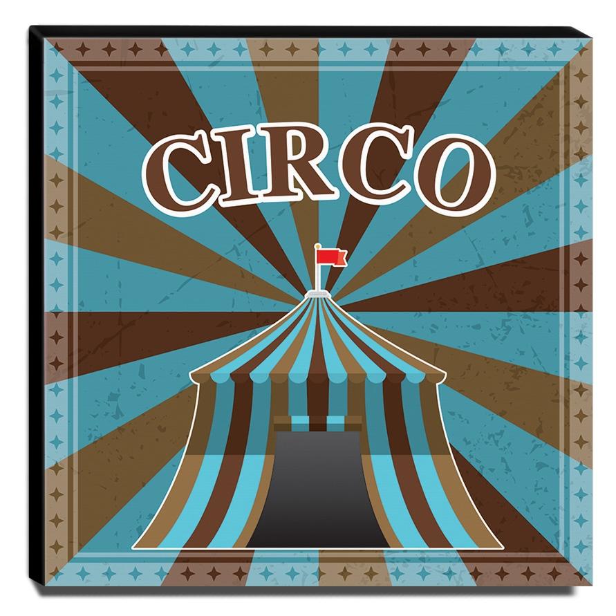 Quadro Infantil Circo Canvas 30x30cm-INF363