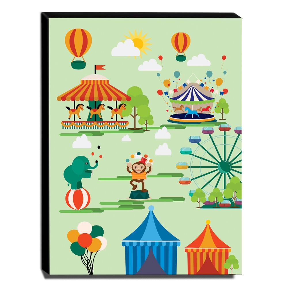 Quadro Infantil Circo Canvas 30x40cm-INF349