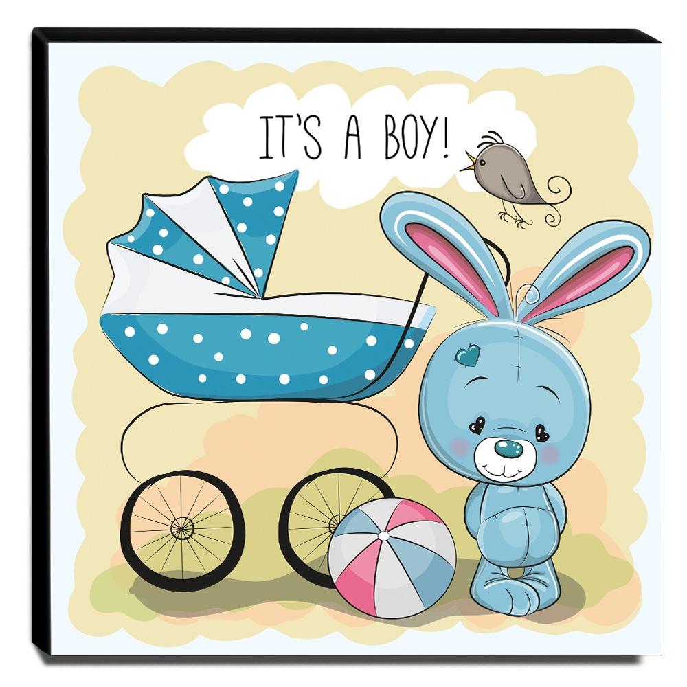 Quadro Infantil Coelhinho Carrinho de Bebê Canvas 30x30cm-INF41