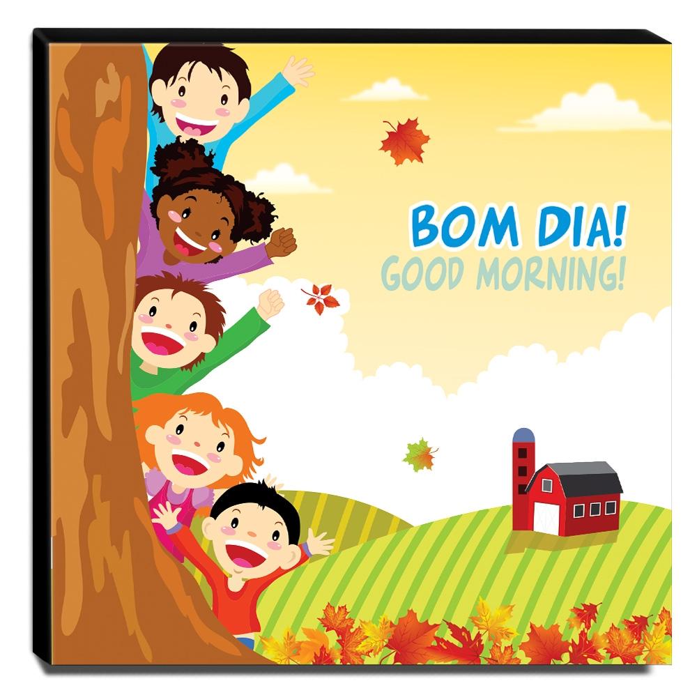 Quadro Infantil Crianças Bom Dia Canvas 30x30cm-INF88