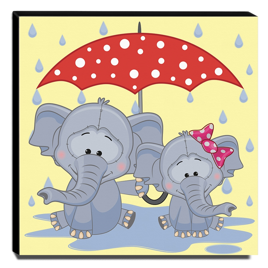 Quadro Infantil Elefantinhos Canvas 30x30cm-INF324