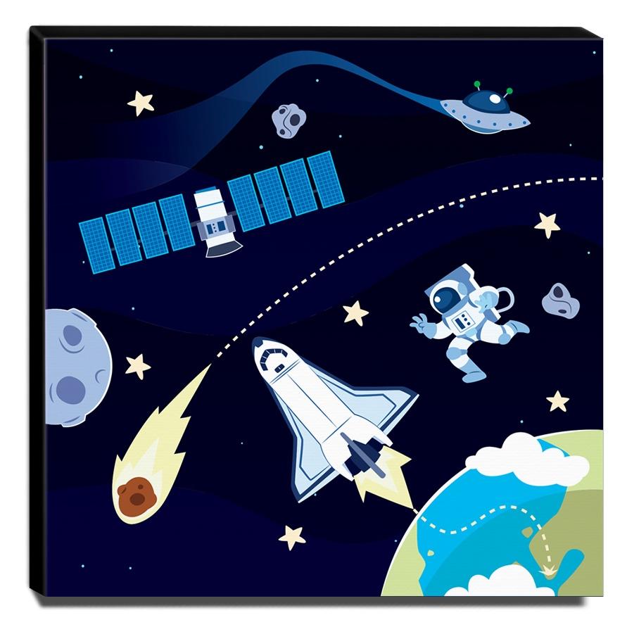 Quadro Infantil Espacial Canvas 30x30cm-INF302