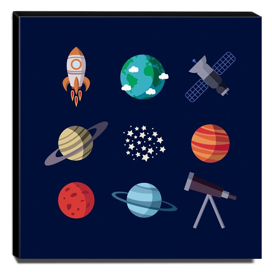 Quadro Infantil Espaço Canvas 30x30cm-INF301