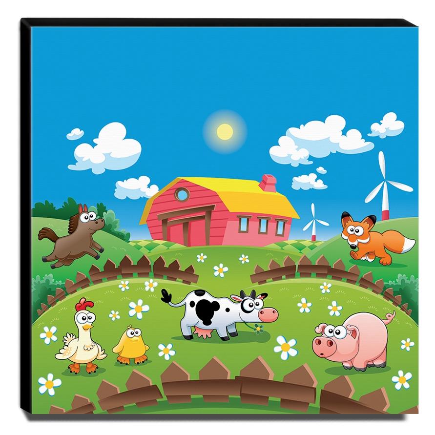 Quadro Infantil Fazendinha Canvas 30x30cm-INF380