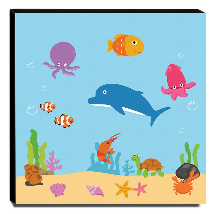 Quadro Infantil Fundo do Mar Canvas 30x30cm-INF378