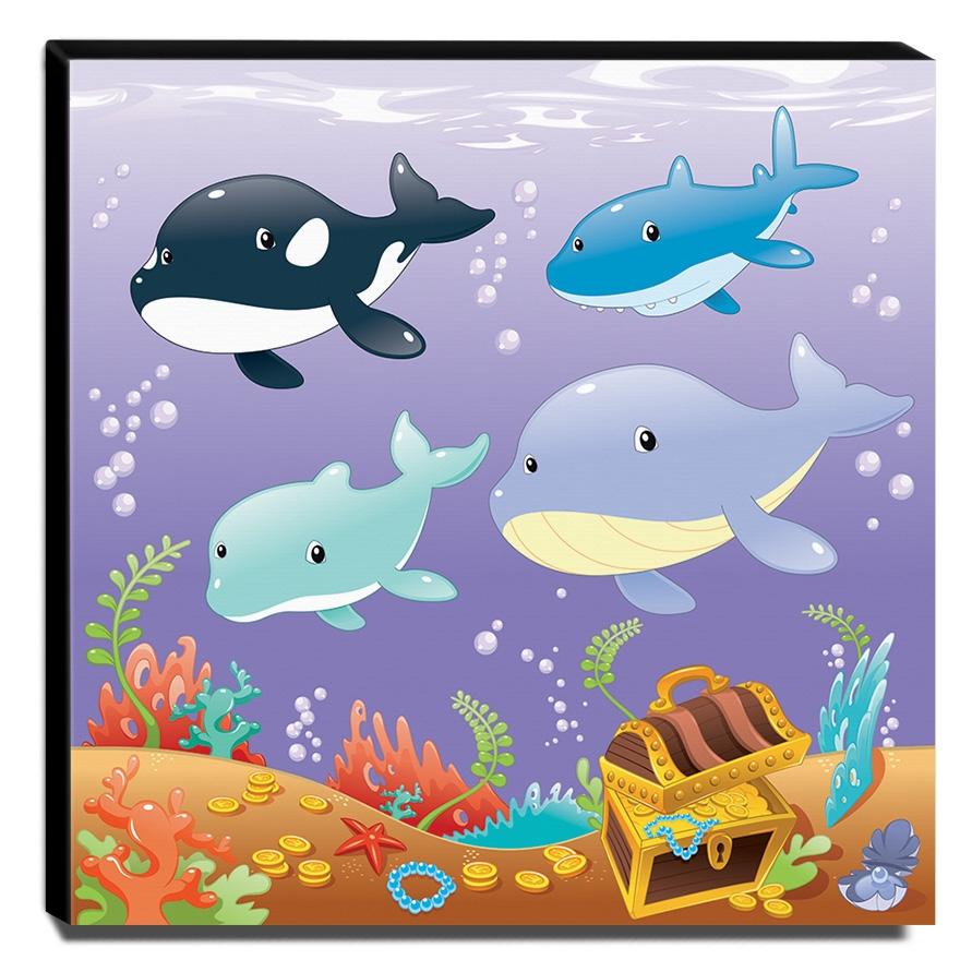 Quadro Infantil Fundo do Mar Canvas 30x30cm-INF379