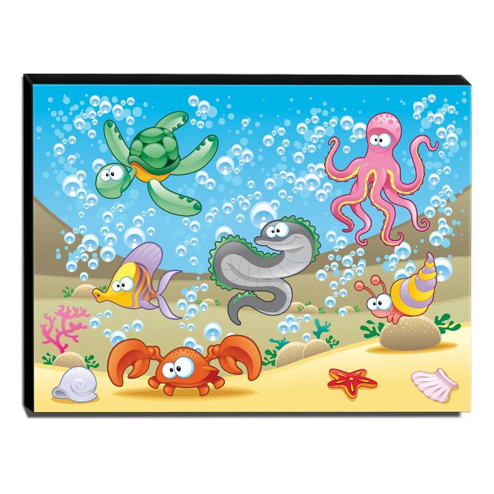 Quadro Infantil Fundo do Mar Canvas 30x40cm-INF412